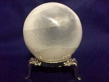 90 mm White Selenite Sphere Gemstone Specimen Reiki Chakra Crystal With Stand.