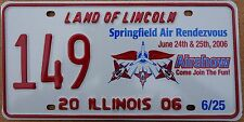 "Illinois 2006 ""Springfield Air Show"" USA Number License Plate American Plane 149"