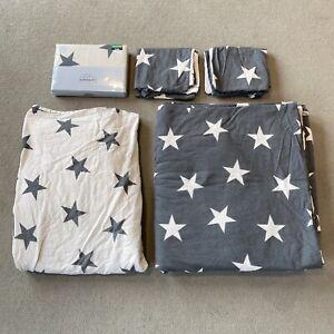 Next Grey & White Star Brushed Cotton King Size Bedding Duvet Sheet Pillowcases