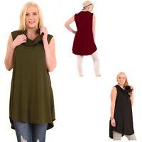 UMGEE Black Burgundy Olive Stretch Knit Cowl Neck Sleeveless Blouse Top XL 1X 2X