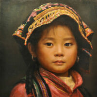 LMOP733 chinese tibet little girl portrait hand paint art oil painting on canvas