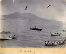 Yémen, Aden, Vue des bateaux dans la baie, ca.1900, vintage silver print Vintage