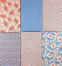 New Listing6 Moda Fat Quarters ~ Oop 30s Feedsack Repros Soft Red Blue Barbara Brackman
