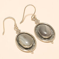 Natural Mexican Blue Lace Agate Earrings 925 Sterling Silver Handmade Jewelry AA