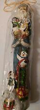 Vintage Blue Santa and penguins Christmas Candle In original Plastic Wrap
