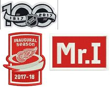DETROIT RED WINGS PATCH SET 2017-18 INAUGURAL SEASON + 100TH + MR I   PUCK STYLE