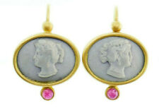 Vintage Etruscan 18k Matte Yellow Gold Lava Stone Ruby Cameo Earrings