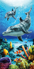 "Dolphins Life & Fish Beach Towel - 30"" x 60"" - Velour - Made In Brazil"