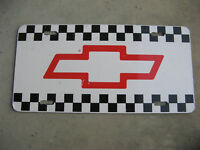 CHEVY CHEVROLET VINTAGE TRUCK LICENSE PLATE BOWTIE CHECKERED FLAG RACING RARE