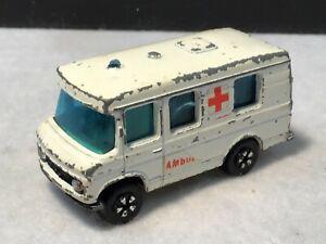 VINTAGE PlayArt Diecast White Mercedes-Benz Ambulance w/ Blue Tinted Windows GC