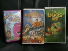 3 Vhs Children's Barney Let'S Go To The Zoo Land Before Time Iii Bug'S Life