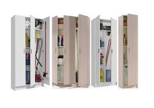 Universal White or Oak Tall Storage Unit Utility Cupboard Garage Laundry Room