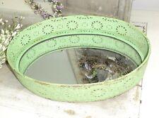 Spiegeltablett grün wunderschön! oval klein Metall Tablett Landhaus Shabby Chic