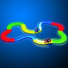 Circuit automobile lumineux pour enfant - 220 pièces de circuits à assembler