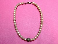 Heavy Genuine Pale Blush Pink Rounded Pearl Necklace 925 Silver New On Trend