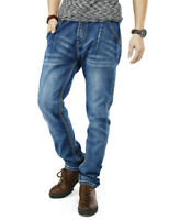 Mens Jeans Regular Fit Straight Leg Jogger Pants Elastic Waist with Drawstring