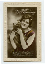 1920s Young Lady w/ Cairn Terrier ? Dog vintage photo postcard