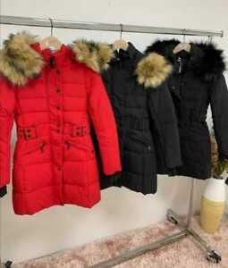 Womens Ladies Faux Fur Collar Hooded Zip Up Long Line Winter Jacket Coat New UK
