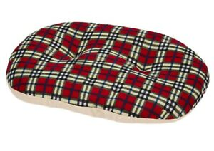 """Gor Pets Argyll Red & Cream Check Fleecy Oval 32"""" 80CM Puppy Dog Pillow"""