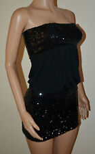 VICKY MARTIN sequin strapless skirt & top suit black fitted mini dress 8 10 NEW