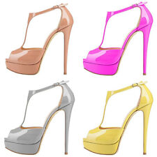 New Plus-SizePatent Leather T-Strap Buckle Fishmouth Platform High Heel Sandals