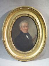 ANCIEN JOLI PORTAIT OVALE HOMME A LA CANNE SIGNE DEZES DATE 1847 LOUIS PHILIPPE
