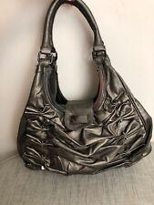 Fiorelli Handbag Faux Leather Grey Metallic Ruched Stud Detail Shoulder Bag