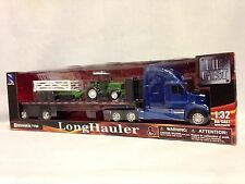 Kenworth T700 Flatbed W/ Farm Tractor Grass Trailer 1:32 Diecast New Ray Toys BL