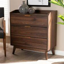 Mid-Century Modern 3-Drawer Dresser Accent Chest Storage Organizer Cabinet Brown