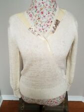 Vintage Christine Phillipe Angora Blend Sweater Cream Size S Knit Hand Loomed