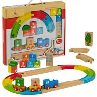 My First Wooden 29pc Kids Train Set Railway Track Toy Brio Bigjigs Compatible