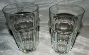 Vintage Pasabahce 10 Panel 12 oz Clear Glass Tumblers Set of 2