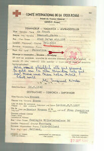 1940 Tel Aviv Palestine Letter cover to Red Cross Switzerland Judaica Holland