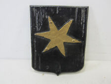 "Vintage Cast Aluminum Six Point Star Shield Shaped Wall Plaque - 11"" x 8 3/4"""