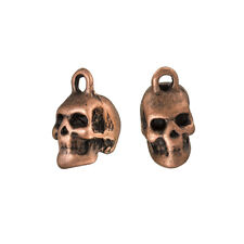 Red Copper Skull/Head Metal Pendant Charms 15mm Pack of 2 (B103/13)