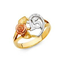15 Years Heart Ring 14k Yellow White Rose Gold Quinceanera Band CZ Rose Fancy