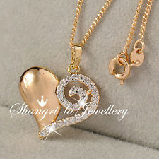 9K GOLD FILLED SWIRLY Love HEART Pendant NECKLACE with SWAROVSKI CRYSTAL EX567