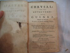 CHRYSAL OR THE ADVENTURES OF A GUINEA ANTIQUE OLD BOOK AMERICA ENGLAND ETC 1761
