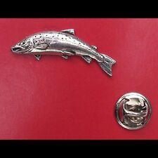 English Pewter small SALMON Pin Badge Tie Pin / Lapel Badge (XTSBPF10)