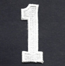 """NUMBERS - White Number """"1"""" (1 7/8"""") - Iron On Embroidered Applique/Numbers"""