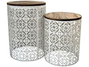 Set of 2 Moroccan Drum Tables Metal & Timber Side/Lamp/Coffee/Bedside
