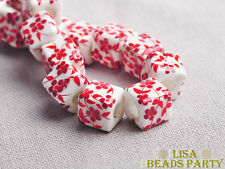 20pcs 10mm Red Flowers Cube Square Ceramic Porcelain Big Hole Loose Beads