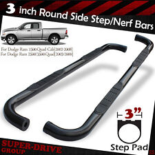 "03-09 DODGE RAM 2500/3500 Quad/Crew Cab 3"" Round Black Nerf Bars Side Step Board"