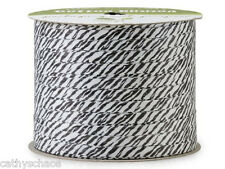 2 Rolls Zebra Safari Print Cotton Curling Ribbon 100 yds Holiday Crafts Gifts