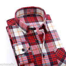 SALE Mens Long Sleeve Flannel Casual Formal Work Plaid Shirt Dress Shirt Tops