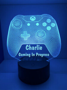 Personalised LED Game Controller Night Light Sign Gaming In Progress Any Name