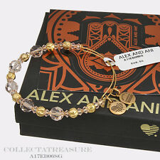 Authentic Alex and Ani Blush Beaded Swarovski Crystal Shiny Gold Bangle