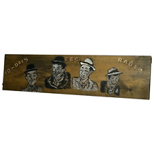 More details for vintage bbc radio laurel & hardy advertising artwork painting panel plaque