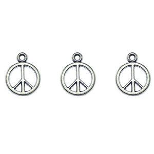 48pcs Antique Silver 14x14x2mm Peace Symbol Alloy Charms Pendants Crafts 01284