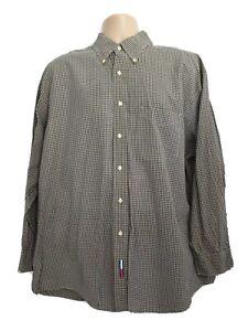 Tommy Hilfiger Mens XXL Stunning Vintage Poplin Brown Check Longsleeve Shirt